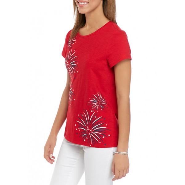 Kim Rogers® Petite Short Sleeve Embroidered Art T-Shirt