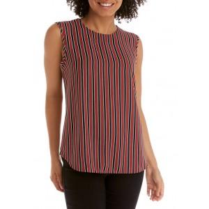 Anne Klein Women's Stripe Sleeveless Split Neck Blouse