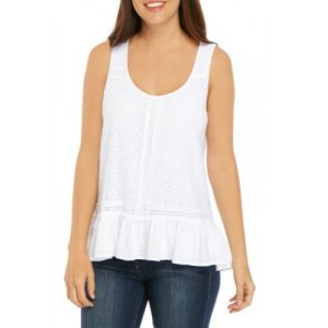 Cupio Lace Front Embroidered Flounce Hem Tank