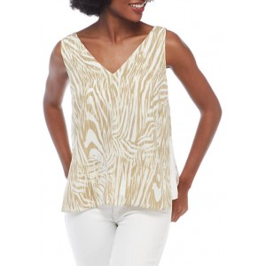THE LIMITED Women's Fluid Crepe V-Neck Shell Print