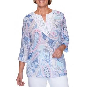 Alfred Dunner Women's Petal Pushers 2020 Paisley Tunic Shirt