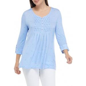 Kim Rogers® Women's 3/4 Sleeve Henley Honeycomb Top
