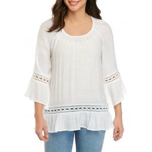 New Directions® Women's 3/4 Sleeve Crochet Hem Linen Slub Top