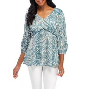 New Directions® Women's 3/4 Sleeve V-Neck Linen Peasant Top