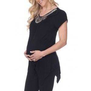 White Mark Maternity 'Myla' Embellished Tunic