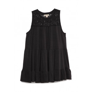 Wonderly Junior's Sleeveless Lace Neck Tiered Knit Top