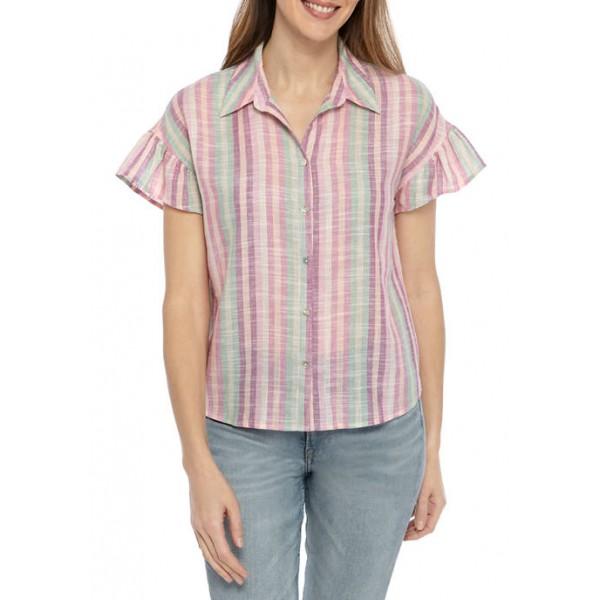 cupio blush Women's Linen Stripe Button Front Top