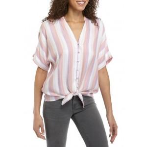 Cupio Women's Stripe Button Tie Front Shirt