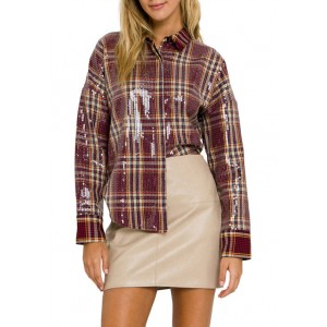 Grey Lab Check Patterned Sequin Shirt