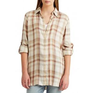 Lauren Ralph Lauren Plaid Roll Tab Sleeve Twill Shirt