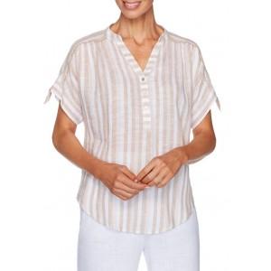 Ruby Rd Women's Easy Breezy Lightweight Stripe Linen Woven Top