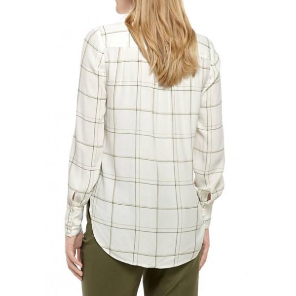 THE LIMITED Women's Long Sleeve Button Down Yarn Dye Top