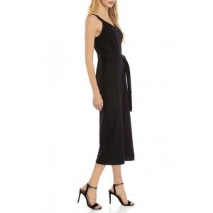 THE LIMITED Women's Linen Tie Waist Wide Leg Crop Jumpsuit