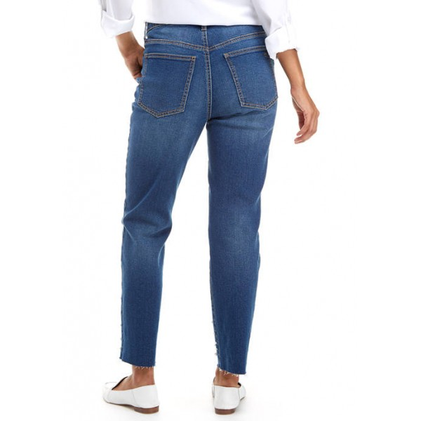 Crown & Ivy™ Women's High Rise Pearl Embellished Vintage Straight Jeans