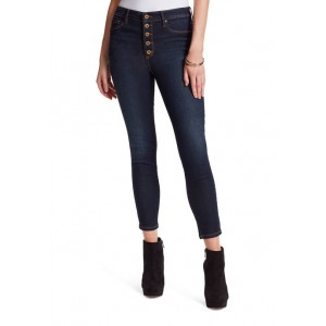 Jessica Simpson High Rise Exposed Buttons Skinny Jeans with Exposed Buttons