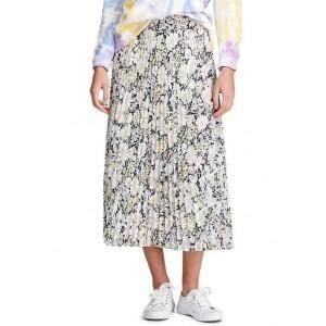 Chaps Floral Pleat Georgette Skirt