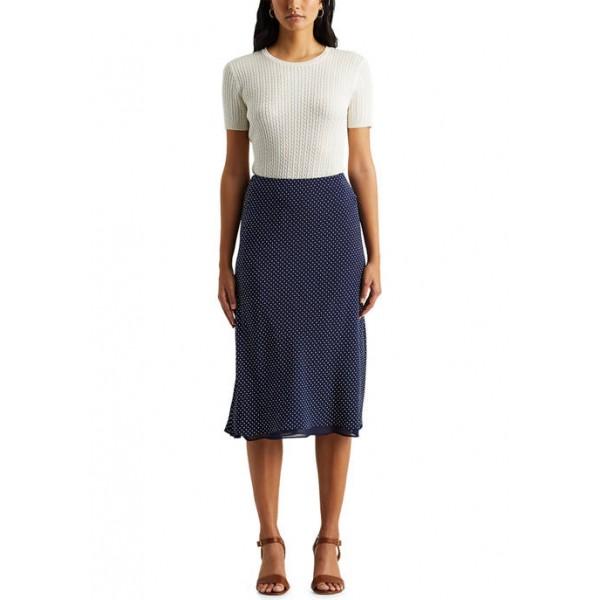 Lauren Ralph Lauren Polka-Dot Silk Crepe Skirt
