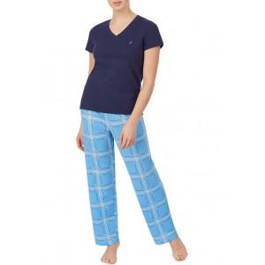Nautica Short Sleeve V-Neck Pajama Shirt with Long Pants