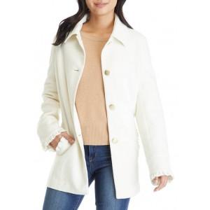 Crown & Ivy™ Women's Long Sleeve Ruffle Trim Coat