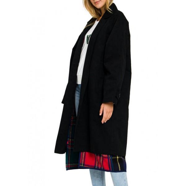 Grey Lab Mixed Check Long Coat