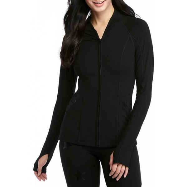 Jessica Simpson The Warm Up Jet Black Fitted Jacket