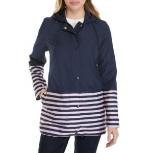 Kim Rogers® Women's Long Sleeve Hooded Anorak Jacket with Stripes