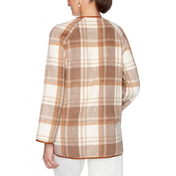 Ruby Rd Women's Act Natural Zip Front Plaid Jacket