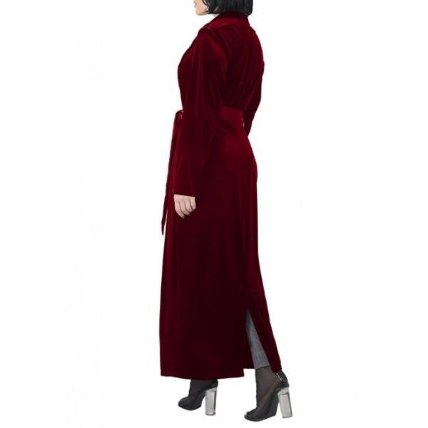 Standards and Practices Women's Freya Stretch Velvet Wrap Midi Coat Dress with Satin Lapel and Satin Belt