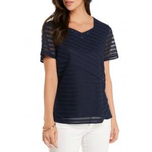 Alfred Dunner Women's Textured Solid T-Shirt