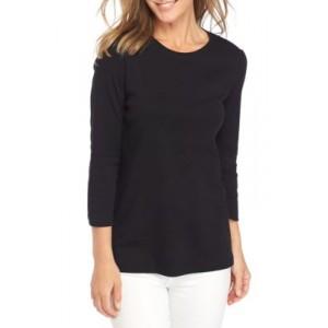 Kim Rogers® 3/4 Sleeve Crew Neck Mega Solid T-Shirt