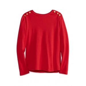 Kim Rogers® Women's Long Sleeve Button Trim Top