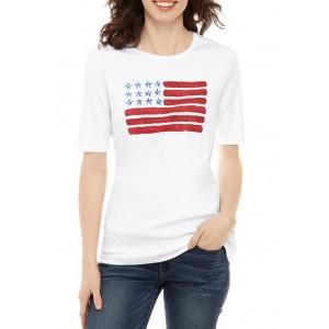 Kim Rogers® Women's Perfectly Soft Elbow Sleeve Crew Neck T-Shirt