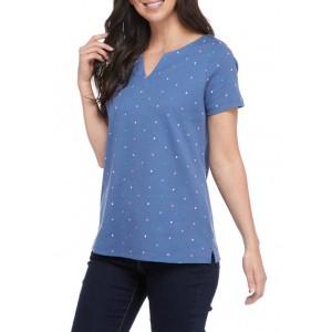 Kim Rogers® Women's Short Sleeve Split Neck Printed Top