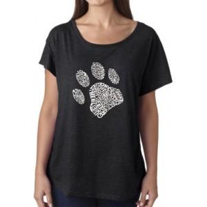 LA Pop Art Loose Fit Dolman Cut Word Art T-Shirt - Dog Paw