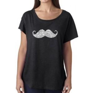 LA Pop Art Loose Fit Dolman Cut Word Art T-Shirt - Ways to Style a Mustache