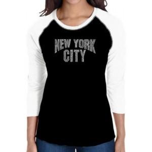 LA Pop Art Raglan Baseball Word Art T-Shirt - NYC Neighborhoods