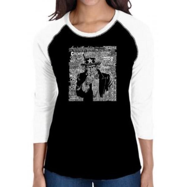 LA Pop Art Raglan Baseball Word Art T-Shirt - Uncle Sam
