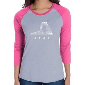 LA Pop Art Raglan Baseball Word Art T-Shirt - Utah