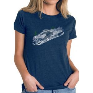LA Pop Art Women's Premium Blend Word Art Graphic T-Shirt - Ski