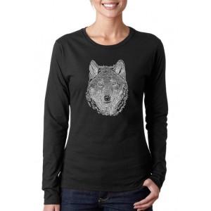 LA Pop Art Women's Word Art Long Sleeve T-Shirt - Wolf