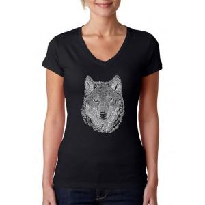 LA Pop Art Women's Word Art V-Neck Graphic T-Shirt - Wolf