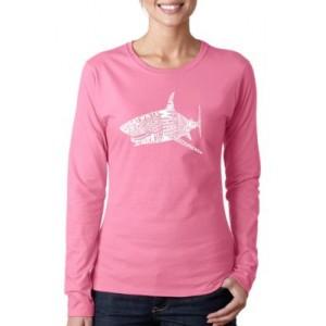 LA Pop Art Word Art Long Sleeve T-Shirt - Species of Shark