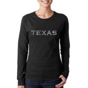 LA Pop Art Word Art Long Sleeve T-Shirt - The Great Cities of Texas