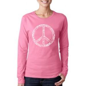 LA Pop Art Word Art Long Sleeve T-Shirt - The Word Peace in 77 Languages