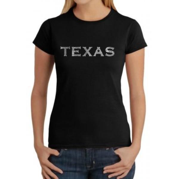 LA Pop Art Word Art T-Shirt - The Great Cities of Texas