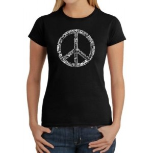 LA Pop Art Word Art T-Shirt - The Word Peace in 77 Different Languages
