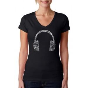 LA Pop Art Word Art V-Neck T-Shirt - Headphones - Languages
