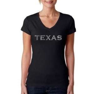 LA Pop Art Word Art V-Neck T-Shirt - The Great Cities of Texas