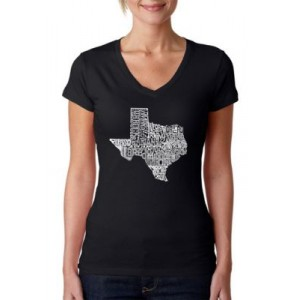 LA Pop Art Word Art V-Neck T-Shirt - The Great State of Texas