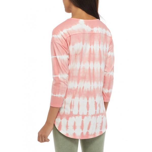 New Directions® Studio Women's 3/4 Sleeve Tie Dye Let Love In Graphic Top